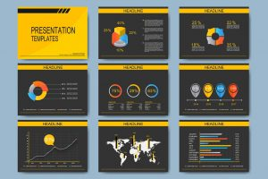 Set of vector templates for multipurpose presentation slides. Modern business design with graph and charts.