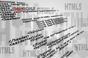 Abstract sample of HTML5 code listing