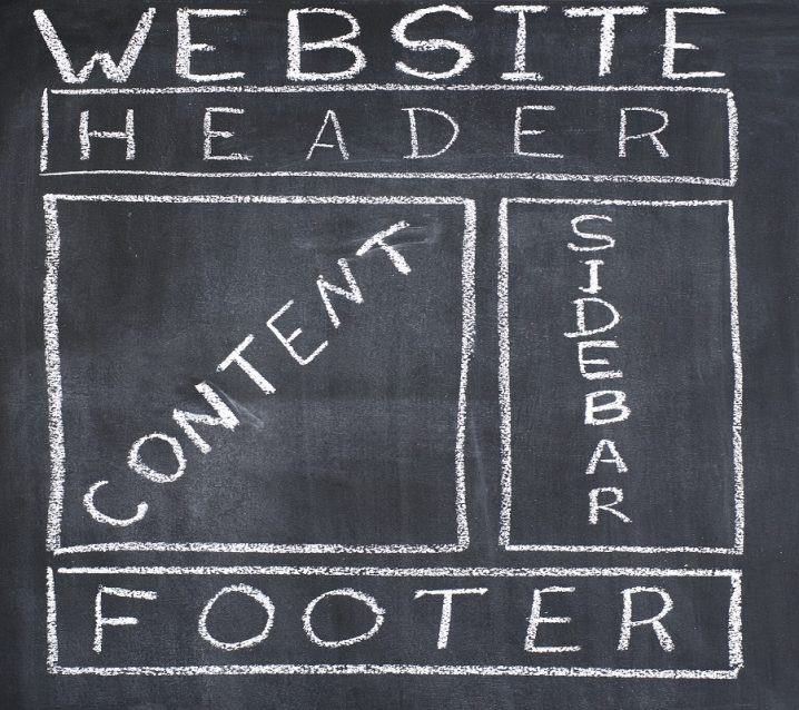 Common structure of the web page, drawn on a blackboard