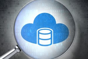 Database concept: magnifying optical glass with Database With Cloud icon on digital background