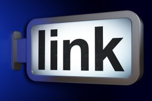 Web development concept: Link on advertising billboard background, 3D rendering