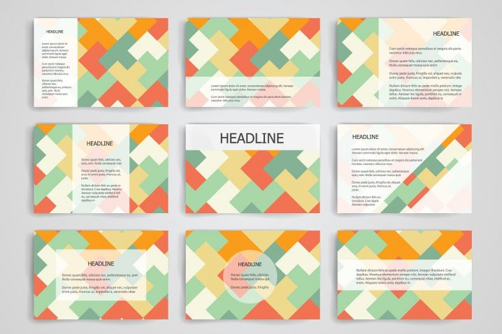 Set of 9 vector templates for presentation slides. Abstract multicolored background of blurred nature landscapes, geometric vector, triangular style illustration
