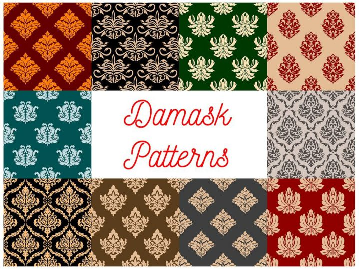 Floral Damask patterns. Vector seamless set of flowery tracery and flourish ornate adornment of royal luxury ornamental flowers and vintage baroque motif ornaments for interior decor design tiles and backdrops