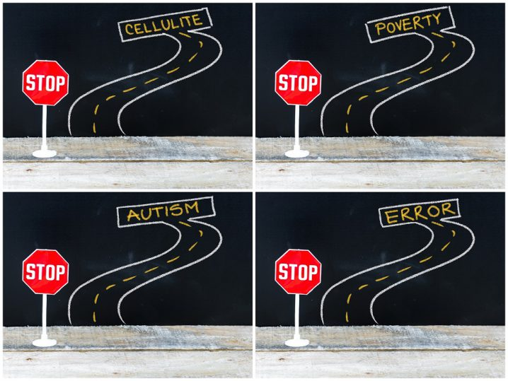 Photo collage of STOP signs on the road to CELLULITE, POVERTY, AUTISM, ERROR . Hand drawing over chalkboard