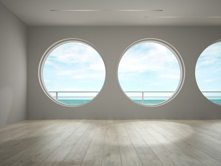Interior empty room with sea view 3D rendering