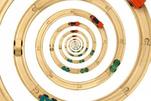 Steam Locomotive Toy Spiral Rails Cutout