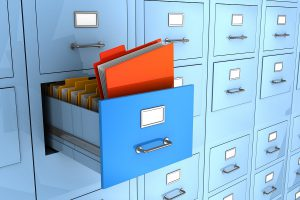 3d illustration of folder finded in big archive cabinet