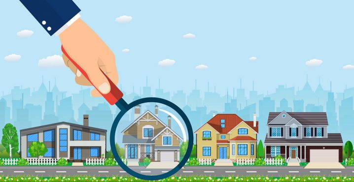 Magnifying glass with house. Real estate concept. Search for home. illustration in flat style Raster version